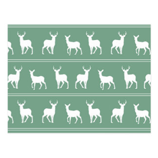 White Deer and Stag pattern on Acapulco Green Post Card