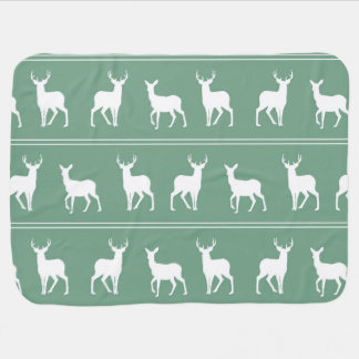 White Deer and Stag pattern on Acapulco Green Swaddle Blanket