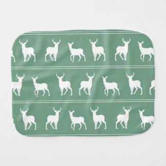 White Deer and Stag pattern on Acapulco Green Baby Burp Cloth