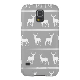 White Deer and Stag pattern on Grey Case For Galaxy S5