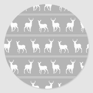 White Deer and Stag pattern on Grey Classic Round Sticker