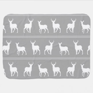 White Deer and Stag pattern on Grey Baby Blankets