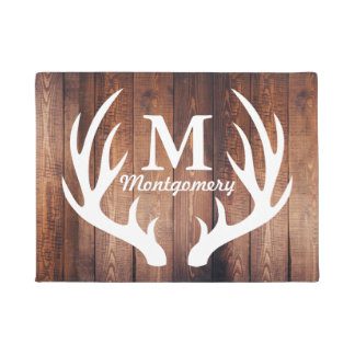 White Deer Antlers Barn Wood Planks - Personalized Doormat