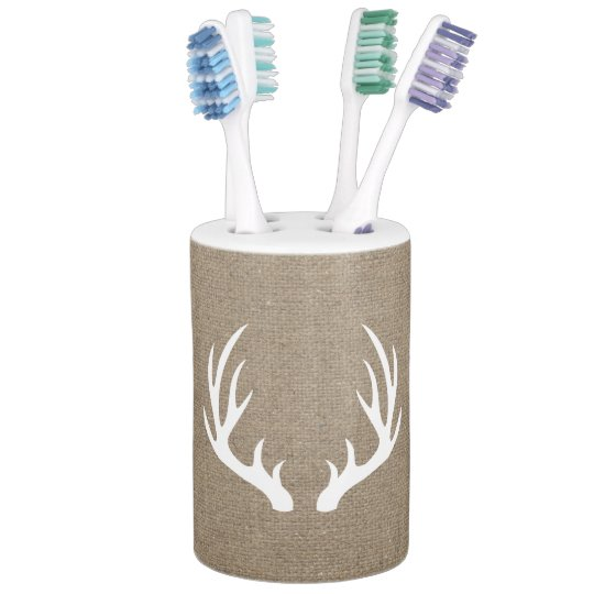 White Deer Antlers Burlap Soap Dispenser And Toothbrush Holder