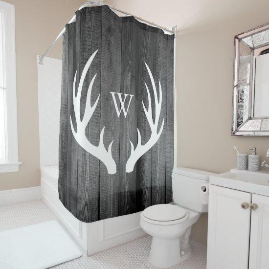 White Deer Antlers Dark Gray Barn Wood Monogram Shower Curtain