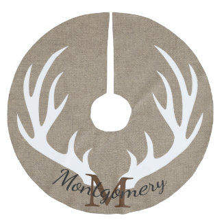 White Deer Antlers FAUX Burlap Family Name Brushed Polyester Tree Skirt