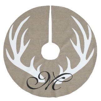 White Deer Antlers Faux Burlap Monogram Tree Skirt