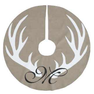 White Deer Antlers Faux Burlap Monogram Tree Skirt