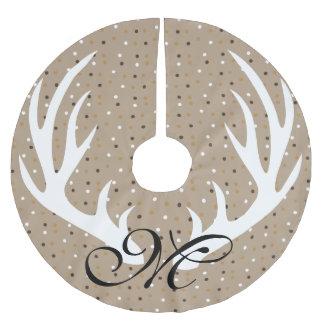 White Deer Antlers Gold Confetti Black Monogram Brushed Polyester Tree Skirt