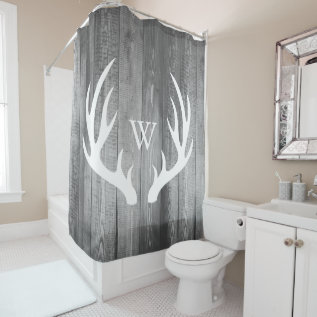 White Deer Antlers Gray Barn Wood Monogram Shower Curtain at Zazzle