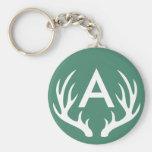 White Deer Antlers Keychain