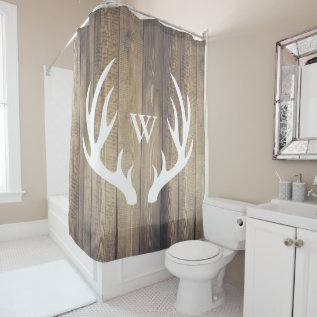 White Deer Antlers Light Barn Wood Monogrammed Shower Curtain at Zazzle
