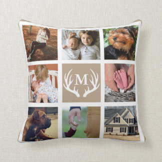 White Deer Antlers Rustic Family Photo Throw Pillow