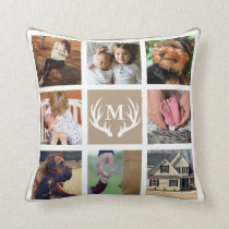 White Deer Antlers Rustic Family Square Photos Throw Pillow