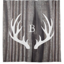 White Deer Antlers Weathered Wood Monogram Shower Curtain