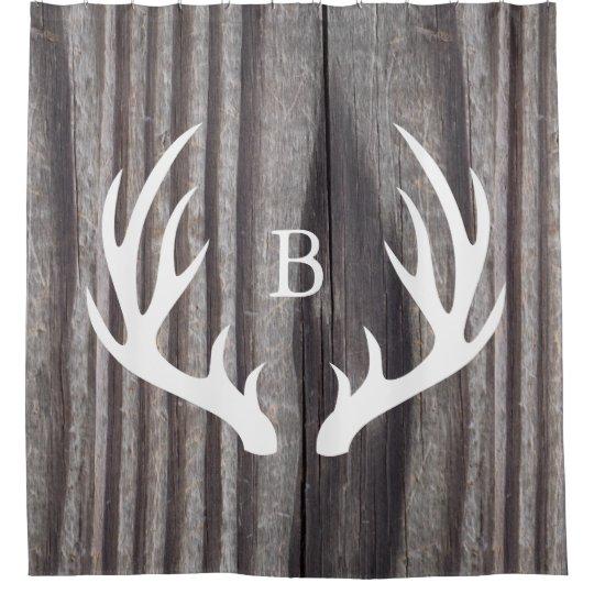 White Deer Antlers Weathered Wood Monogram Shower Curtain