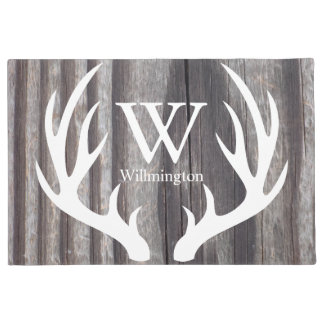 White Deer Antlers Weathered Wood - Personalized Doormat