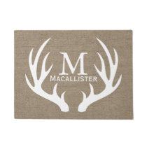White Deer Buck Antlers and Burlap Family Name Doormat