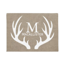White Deer Buck Antlers & Faux Burlap Family Name Doormat