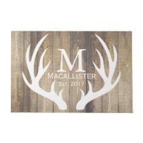 White Deer Buck Antlers & Rustic Wood Family Name Doormat