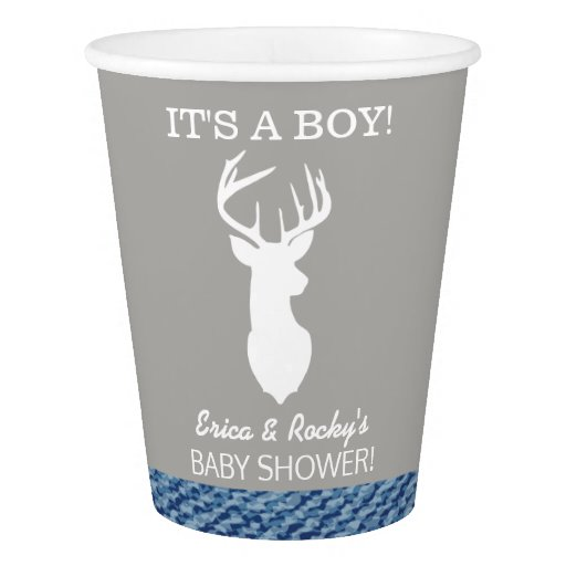 White Deer Buck Silhouette Boy Paper Cups