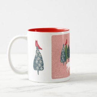 White deer Christmas antlers, owl, fox, forest Two-Tone Coffee Mug