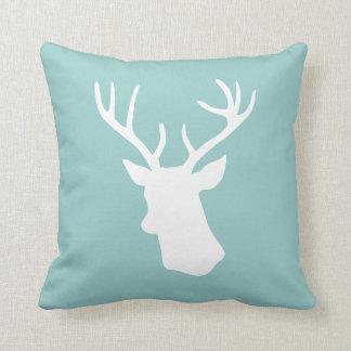 White Deer Head Silhouette - Blue Pillow