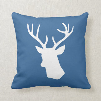 White Deer Head Silhouette - Dark blue Pillow