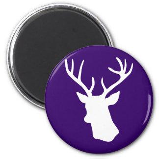 White Deer Head Silhouette - Dark Purple Magnet