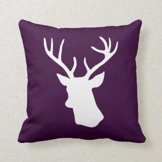 White Deer Head Silhouette - Dark Purple Pillows