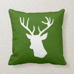 White Deer Head Silhouette - Green Throw Pillows