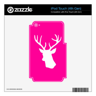 White Deer Head Silhouette - hot pink Decal For iPod Touch 4G