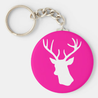 White Deer Head Silhouette - hot pink Keychain