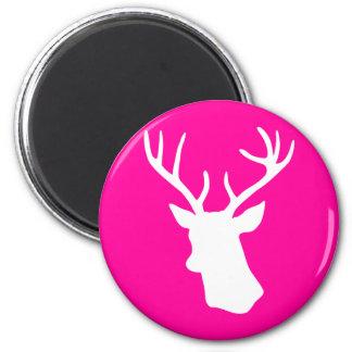 White Deer Head Silhouette - hot pink Magnet