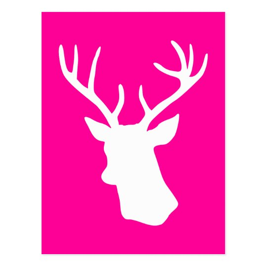 White Deer Head Silhouette - hot pink Postcard