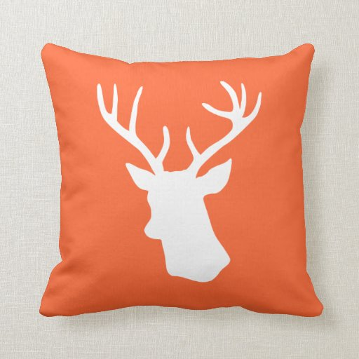 White Deer Head Silhouette - Orange Throw Pillow