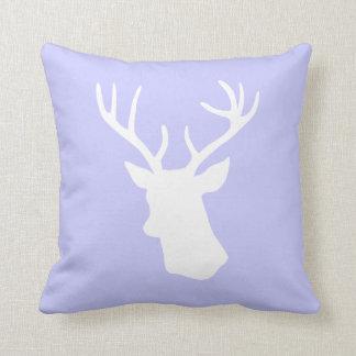 White Deer Head Silhouette Throw Pillows