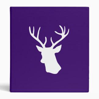 White Deer Head Silhouette - Purple 3 Ring Binder