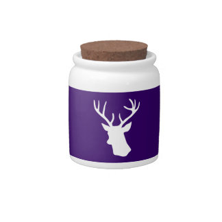 White Deer Head Silhouette - Purple Candy Dishes