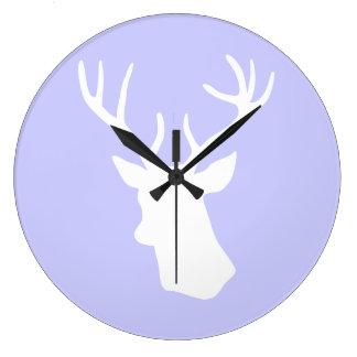 White Deer Head Silhouette - Purple Clock