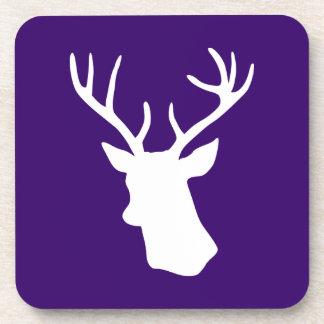 White Deer Head Silhouette - Purple Beverage Coaster