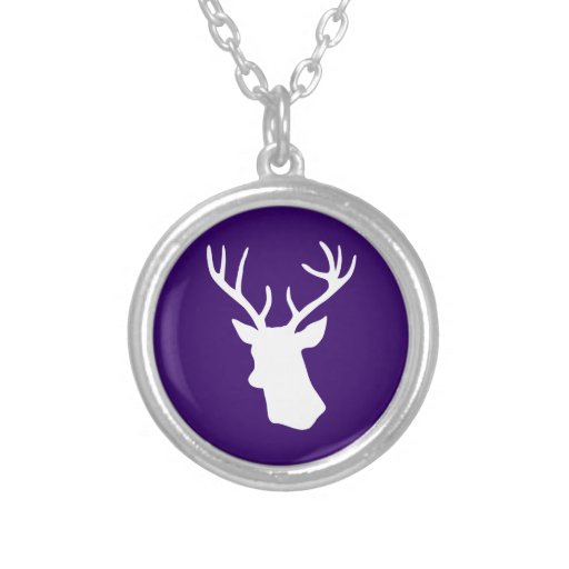 White Deer Head Silhouette - Purple Necklaces