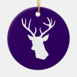 White Deer Head Silhouette - Purple Double-Sided Ceramic Round Christmas Ornament
