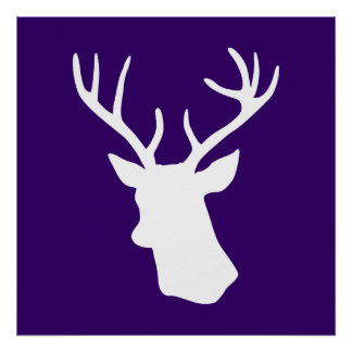 White Deer Head Silhouette - Purple Poster