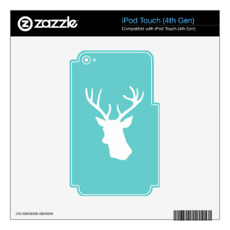 White Deer Head Silhouette - Turquoise iPod Touch 4G Decal