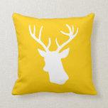 White Deer Head Silhouette - Yellow Throw Pillow