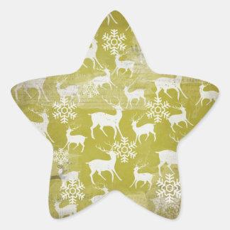White Deer on Green Snowflakes Round Sticker