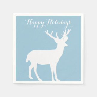 White Deer Silhouette Holiday Paper Napkins