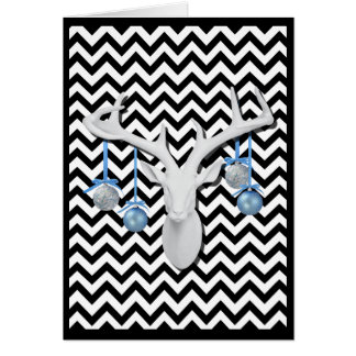 White Deer with Blue Ornaments on Chevron Holiday Card