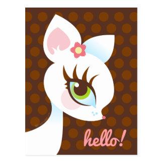 White Deerie on Brown Polkadots Hello Postcard